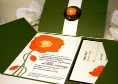 NEWS: This wedding invitation was featured on the front page of Etsy!    The poppies on this wedding invitation design have the radiant glow of the