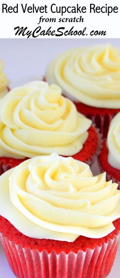 The BEST Red Velvet Cupcake Recipe by MyCakeSchool.com! Makes perfect Red Velvet Cake Layers Also! My Cake School Cake Recipes, videos, tutorials, and more!