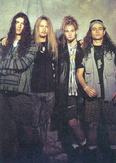 OH LAYNE && JERRY! It's gonna be one of them days.  ohitsthe90s:    Alice in Chains, 1990.  (l to r) Sean Kinney, Jerry Cantrell, Layne Staley, Mike Starr