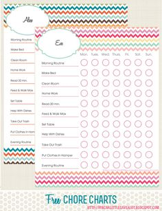 Free Kids Chore Chart to help to keep track daily chores