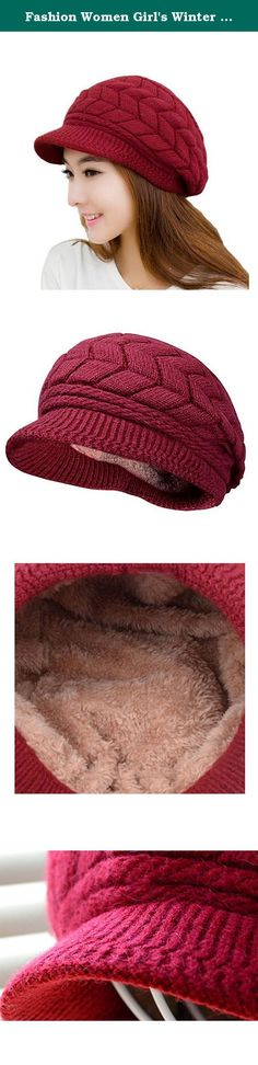 Fashion Women Girl's Winter Warm Knit Hat Wool Snow Ski Caps with Visor,Snow Hat. This soft chenille fleece-lined winter knit cap hat is perfectly designed for the chilly cold weather winter season. Extra Deep for a jaunty slouchy look or to make a little extra room for your hair, whether loose, in a bun or a pony tail, and may be deep enough to cover your ears, so you can replace your earmuffs, or choose to wear them together for extra warmth. The visor brim protects your face from…