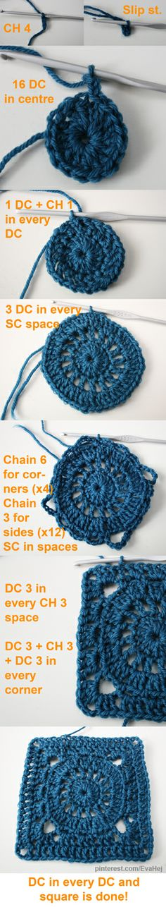 How to crochet a granny square with a wheel in the middle.