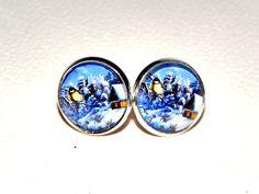 """Ohrringe Cabochon """"Weihnachten Landschaft"""" 14 mm. von Luisa Ventocilla Shop auf DaWanda.com"""