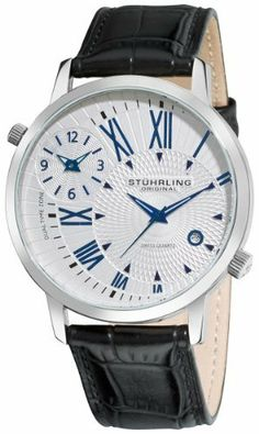 Stuhrling Original Men's 343.33152 Symphony Eclipse Polaris Swiss Quartz Date and Dual Time Zone Silver Tone Watch, http://www.amazon.com/dp/B005MVSV2Q/ref=cm_sw_r_pi_awd_1YUmsb1KH8J7B