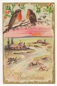 Xmas Best Wishes, Snow Scene, Songbirds Vintage Christmas Postcard #Christmas