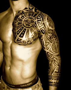 Polynesian Sleeve Tattoo pretty cool for a guy tattoo