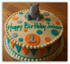 Snacky French: Hippo 1st Birthday Cake