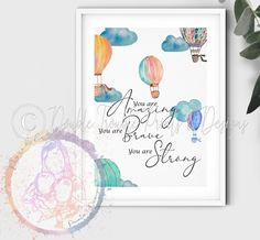 Beautiful Watercolour Hot Air Balloon Nursery prints , Affirmations, different quotes - A3 / Something Wonderful