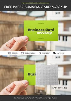 Free Paper Business Card Mockup on Behance