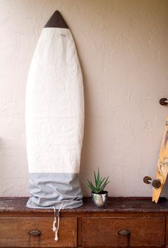 Gray Canvas Surfboard Bag Surf Sock Grey Board by theAtlanticOcean
