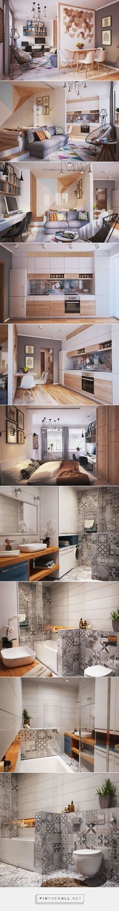 Living Small With Style: 2 Beautiful Small Apartment Plans Under 500 Square Feet (50 Square Meters) - created via http://pinthemall.net