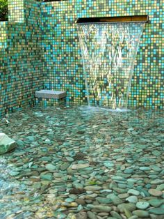 Brio glass mosaic tile in a stunning backyard oasis via www.modwalls.com