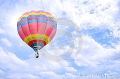 Photo about Colorful balloon over bright sky with clouds. Image of scenic, freedom, flying - 88666747 Colourful Balloons, Colorful, Sky And Clouds, Bright, Stock Photos, Blue, Image