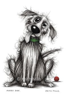 Fuzzy dog by Keith Mills. This is a print which has been created from my original ink drawing. It is an A4 size print which measures 11 3/4 x 8 1/4 inches | 297 x 210 mm. It is printed on good quality paper. It is unframed. Watermark will not appear on the print. Copyright remains with Keith Mills.  Free shipping.