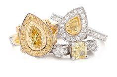 Yellow Diamond Engagement rings. #rohanjewellery #rohanmilne #leederville #handcraftedjewellery #engagement #diamond #yellow #white #wedding Canary Diamond, Gemstone Colors, Handcrafted Jewelry, Gold Rings, Yellow Diamonds, Rose Gold, Fancy, Engagement Rings, Gemstones