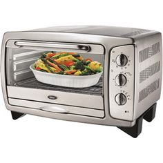 Oster 6056 is a convection oven which can hold a large amount of bake ware. It can hold up to 9 x 11 size of bake ware max, a whole chicken or a whole pizza. Dualit Toaster, Toaster Ovens, 6 Slice Toaster, Kitchen Gadgets, Kitchen Appliances, Stainless Steel Toaster, Countertop Oven, Best Refrigerator