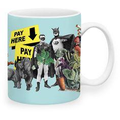 Pay Here Mug ($19) ❤ liked on Polyvore featuring home, kitchen & dining, drinkware, blue mug, ceramic mug and blue ceramic mug