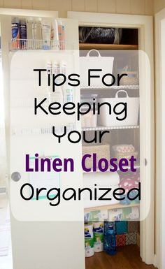 Linen closet inspiration?? I am sharing realistic tips for keeping your closet organized by storing all sheets in bins, how to fold towels, and more!