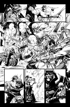 Hooray for action! I added both panels 2 and 3 for pacing purposes. Check out the gun in panel 4--it looks like it shoots crayons. How the fuck did I not catch that until now...