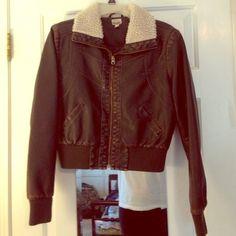 Dark Brown Flight Jacket size Large Large Mudd flight jacket in a dark brown faux leather and faux fur Mudd Jackets & Coats