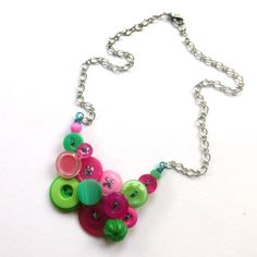 "Love this!!! Wish I had this kind of talent!   ""Funky Bright Button Jewelry Necklace in Shades of Pink and Greens on Etsy, $30.00"""