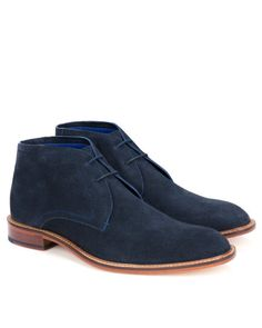 Suede casual ankle boot - Dark Blue | Shoes | Ted Baker