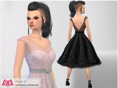 Rockabilly dress lace by Colores Urbanos at TSR via Sims 4 Updates