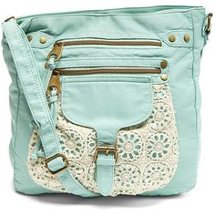 T-Shirt & Jeans Mint Crochet Crossbody Bag (33 CAD) ❤ liked on Polyvore featuring bags, handbags, shoulder bags, travel purse crossbody, travel crossbody, crossbody purse, cross body purse and travel shoulder bag