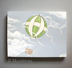 Nursery art  Hot Air Balloon Nursery Boys Nursery Art by MuralMAX, $51.00