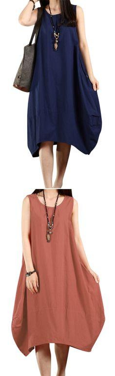 US$ 18.04 O-Newe Casual Women Solid Sleeveless Pockets Lantern Dress