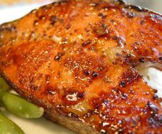 Oven baked marinated salmon steaks.Fish cooks well in turbo oven,staying tender and moist.Lemon grass,ginger,soy sauce and fresh chili give a fresh flavour to these delicious salmon steaks. #recipe