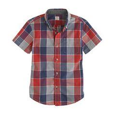 Boys' Secret Wash short-sleeve shirt in mineral grey plaid