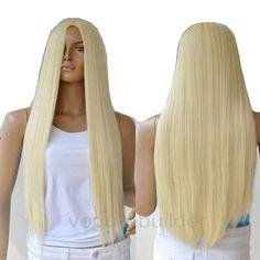 75 Cm Harajuku Cosplay peluca medio recta larga rubia peluca de pelo  sintético pelucas para mujeres 6ce97cf6f056