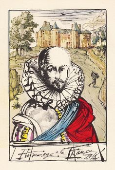 Salvador Dali - portrait of Michel de Montaigne, French 16c philosopher   illustration for an edition of the 'Essays', published by Doubleday and Company, 1947.