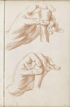 Handen die een (wandel)stok vasthouden, Petrus Johannes van Reysschoot, 1710…