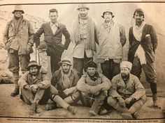 1924 mountaineers. Andrew Irvine and George Mallory are standing, 1st and 2nd from the left. They died a day or two later. This was their final expedition; they died on Everest a day or two after this photo was taken.