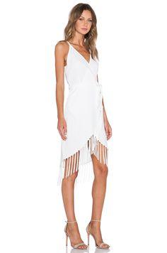 GLAMOROUS Fringe Wrap Dress in Cream