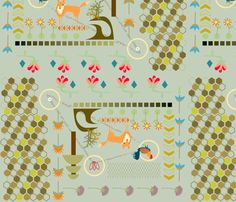 foxy pattern fabric by junej on Spoonflower - custom fabric