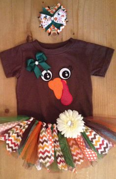 Thanksgiving Turkey Chevron Scrap Fabric Tutu Outfit on Etsy, $40.00