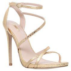 Buy Carvela Georgia Leather Stiletto Strappy Sandals, Gold Online at johnlewis.com