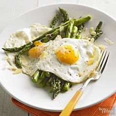 Simple ingredients such as garlic, butter, and Parmesan cheese are all you need for this easy asparagus recipe. Serve with fried eggs for a meal that is just as delicious at dinner as it is breakfast.