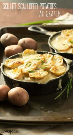 The best and easiest scalloped potatoes -- they're cooked completely in one skillet so there's no boiling the potatoes! Easter Side Dishes, Potato Side Dishes, Vegetable Side Dishes, Vegetable Recipes, Scalloped Potatoes Au Gratin, Scalloped Potato Recipes, Cast Iron Recipes, Side Dish Recipes, Dinner Recipes