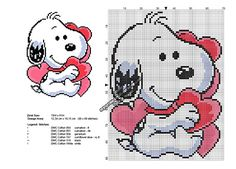 Exclusive cross stitch pattern December 2016: Snoopy Valentine's Day