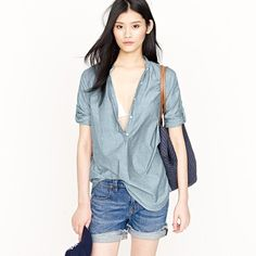 Chambray bayou tunic by J.Crew $59.50.  I'm going to try this on tomorrow and see if it works.