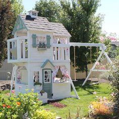 I was looking back at pictures this morning from last spring when we finished the playhouse.This has been such a fun thing for all the… Girls Playhouse, Backyard Playhouse, Backyard Playground, Backyard For Kids, Playhouse Ideas, Cubby Houses, Play Houses, Play Spaces, Outdoor Play
