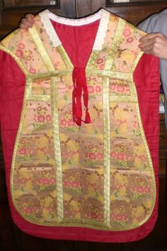 Italian Latin style vestment, rose color, with collar to protect the vestment.