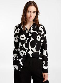 Gabro Pieni Unikko blouse | Marimekko | marimekko | Simons Marimekko, Scandinavian Fashion, African Textiles, Silk Crepe, Crochet Fashion, Designer Collection, Designing Women, Capsule Wardrobe, Dress Up