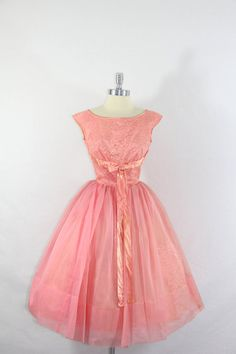 Party Dress - Vintage Honeysuckle Chiffon and Lace and Satin Party Prom Wedding Frock . 1950s Party Dresses, Vintage Dresses, Vintage Outfits, Prom Dresses, Wedding Dresses, 1950s Fashion, Pink Fashion, Vintage Fashion, Pretty Outfits