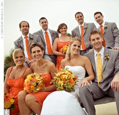 wedding orange... The orange is more for James but incorporates your gray suit idea.  If you pick Fall this maybe an option