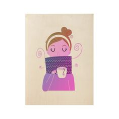 Magazine winter girl illustration / On wood New Poster, Illustration Girl, Home Deco, Make Your Own, Posters, Magazine, Wood, Winter, Prints